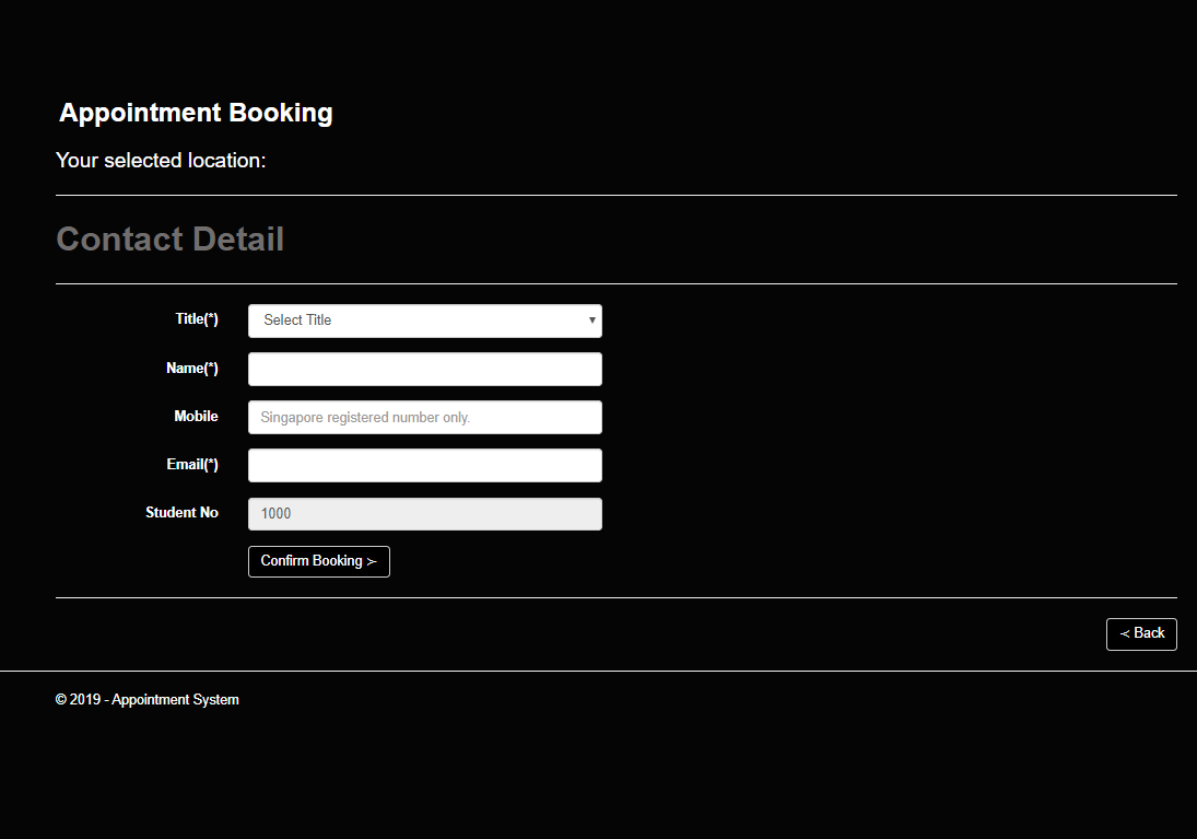 appointment booking contact form